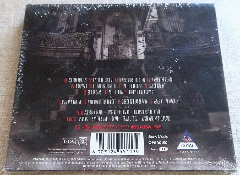 BULLET FOR MY VALENTINE Scream Aim Fire Deluxe Edition CD+DVD SOUTH AFRICA  Cat# CDZOM2128