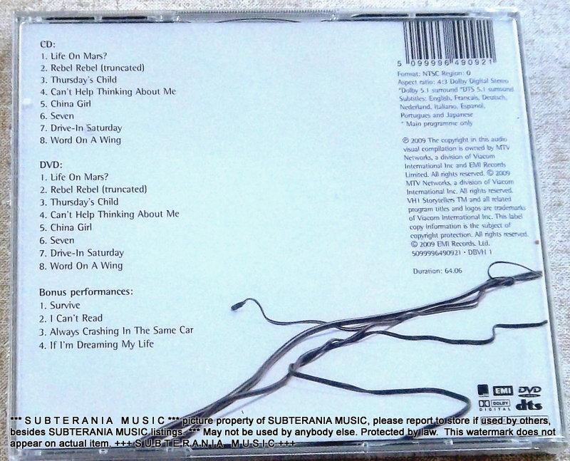 DAVID BOWIE VH1 Storytellers CD+DVD NTSC All Regions UK Cat# 5099996490921